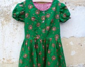 Vintage 1970/70s Authentic Girl Dirndl Tyrol Austria German Floral Dress  size 6/8 years
