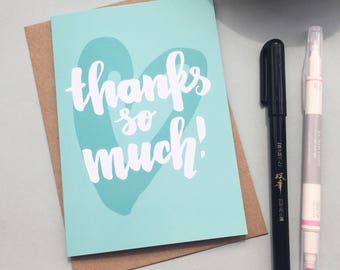 Thank you card - brush lettering on a bright turquoise thank you card
