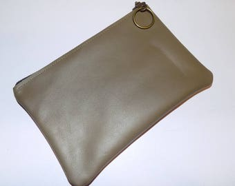 OD Green Cowhide LEATHER General Use Utility Pouch