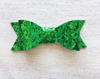 Kelly Green Glitter Emma Bow. Quarterback Collection. 3 inch Medium Bow. Clip or Headband. RTS