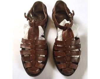 Vtg Leather T-Strap Huarache Sandals Sz 10