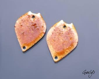Emaux sur cuivre - Paire de plaque de cuivre émaillé pour boucles d'oreille - forme feuille, émail ambré - Gaelys