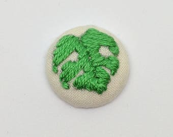 Monstera Deliciosa Leaf Button Embroidery Jungle House Plant Earring Pin Jewelry Magnet
