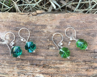Sterling Silver Swarovski Shamrock Earrings, St. Patrick's Day Earrings, Sterling Silver Shamrock Earrings