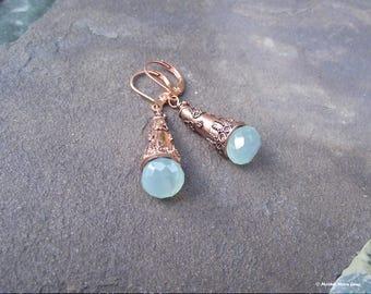 Ancient Days Copper & Aqua Chalcedony Earrings II