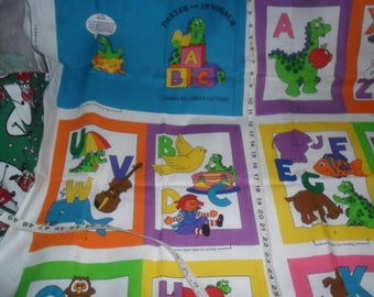 """Vintage """"Dexter the Dinosaur"""" Quilted Squares Alphabet Book to make"""