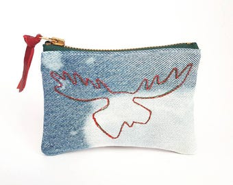 CANADA150. Canadian Moose. Denim Change Purse. Canada. Upcycled Denim. Bleached Denim. Jean Pouch. Leather Coin Purse. Ready To Ship.