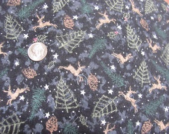 Flannel Christmas Fabric, Deer, Tree, Stars, Pine cones Great for Quilt Back