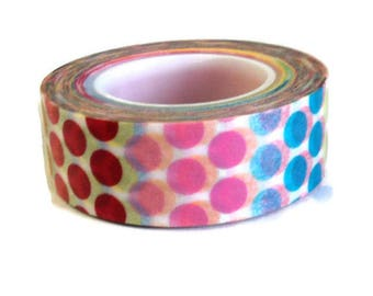 """Washi Tape, Multi Color Dots, Love My Tapes Brand, .5"""" x 10 Yds., Pink Red Yellow Green Blue Takuniquedesigns"""