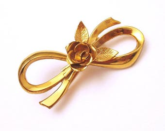 Large Coro Bow Brooch Rose Retro Forties Jewelry P5404