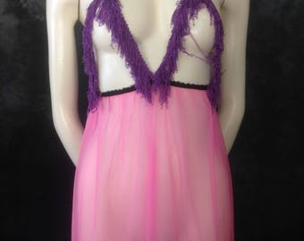 Vintage 1960's 1970's cotton candy pink sheer nylon babydoll matching panties tacky! purple fringe!