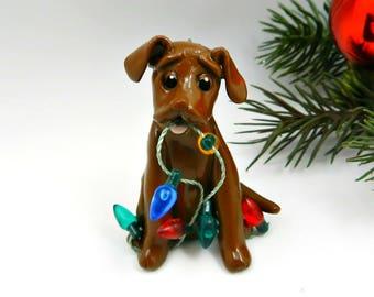 Labrador Retriever Chocolate Christmas Ornament Porcelain Clay Lights
