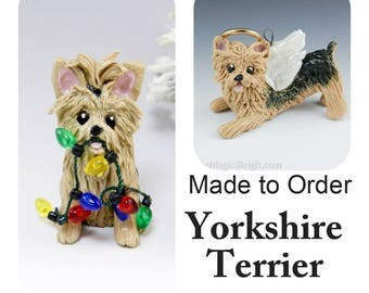 Yorkshire Terrier Yorkie Dog Made to Order Christmas Ornament Figurine Porcelain