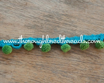 1.75 yards Multi Colored -  Mod Vintage Pom Poms Ball Fringe 60s 70s New Old Stock Turquoise Green