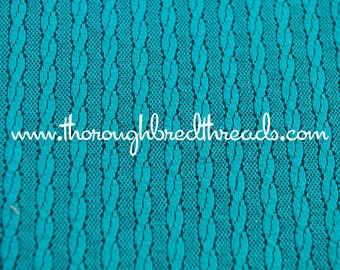Geometric Stripe - Vintage Fabric 70s New Old Stock Knit Teal