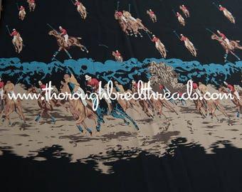 Polo Pony Print - Vintage Fabric Novelty 70s  Equestrian Horses Sport Apparel Border Print