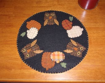 Penny Rug Candle Mat 12 inch Owls and Pumpkins