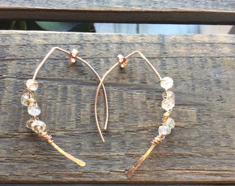 Rose gold filled and Imperial topaz wire wrapped half hoop earrings