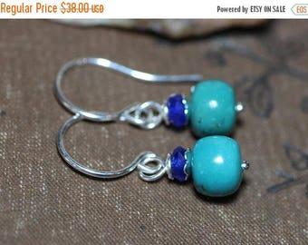 SALE Turquoise Earrings Sterling Silver Gemstone Earrings Blue Earrings Luxe Rustic Southwestern Jewelry