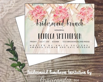 Bridal bridesmaid luncheon invitation custom original watercolor wedding bridal party lunch invitation flowers