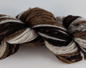 Soft Shetland Wool Handspun Yarn - Self Striping 121 yards Farm Raised
