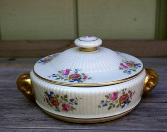 Antique Casserole with Lid Rams Head Handles