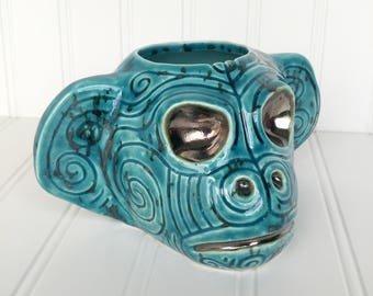 Mean Maori Monkey Tiki Mug - Turquoise - New Zealand Moko Face Tattoo Ape Chimp
