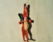 1940s Red Clay Faced Chenille Santa Claus With Green Tree Christmas Feather Tree Ornament Antique Christmas Decoration