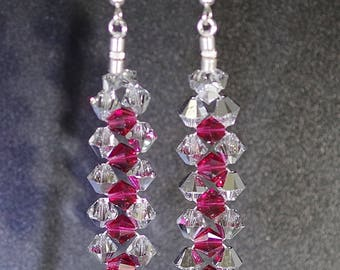 Swarovski Crystal Earrings - Made to Order - Shown in Fuchsia with Comet Argent - Most Swarovski Colors Available