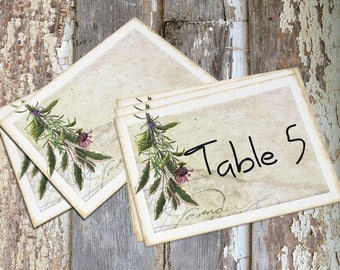 Wedding Table Cards Rustic Wildflowers Herbs Large Double Sided or Single Sided Table Place Cards or Signs #358