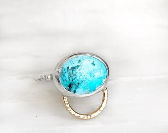 Arizona Turquoise ring Size 6 set in Sterling Silver with 14k yellow gold filled orb accent on pyramid stud band modern minimal southwestern