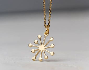Dandelion Necklace 14k solid Gold Flower Pendant Gift for Her Delicate bloom birthday Gift bridal Dainty necklace botanical jewelry Summer