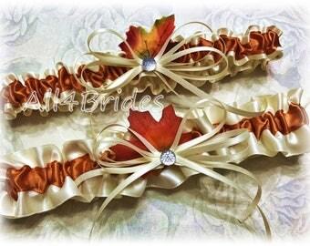 Fall Leaves Wedding Bridal Garter Set, Autumn Weddings Bridal Accessories, Burnt Orange Keepsake and Toss Garter Set