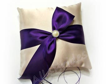 Champagne and grape purple plum wedding ring bearer pillow.  Wedding decorations ring cushion
