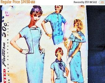 SALE 25% Off Vintage Sheath Dress Pattern 1950s 50s  Dress Patterns Junior Size 13 Dress with Jacket or Short Cape Vintage Sewing Patterns 5