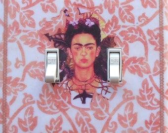 NEW Frida  plates & MATCHING SCREWS Frida altered art Frida shrine Frida art print Frida light switch cover Frida wall art decor Frida Kahlo