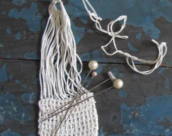 Antique Victorian/Edwardian Hand Crochet Coin Purse and Hat Pins  Pearls/Chrome. - Early 1900's