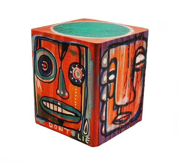 Funk Totem Part No. 284 - Original Mixed Media Block - Vol. 12