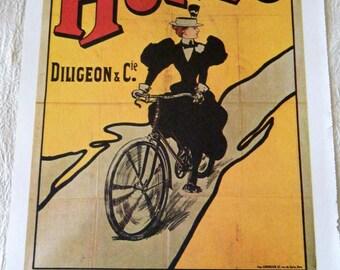 Vintage Bicycle Poster 1900s Hurtu Biicycles Paris