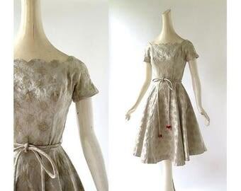 20% off sale Vintage 1950s Dress | Gold Party Dress | 50s Dress | XS