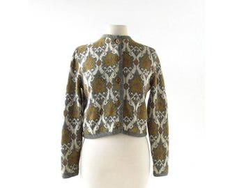 20% off sale Vintage 60s Sweater | Morris Damask | Wool Cardigan | S M
