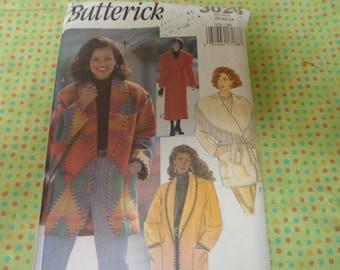 Butterick 3026 Misses Jacket, Long or Short Coat Pattern Sizes 20-22-24 Uncut