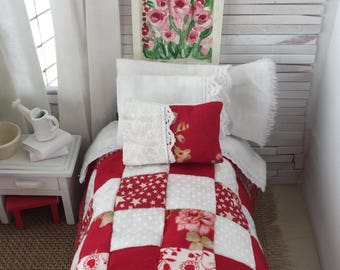 Miniature Dollhouse Red and white Farmhouse Quilt and Bedding- 1:12 scale