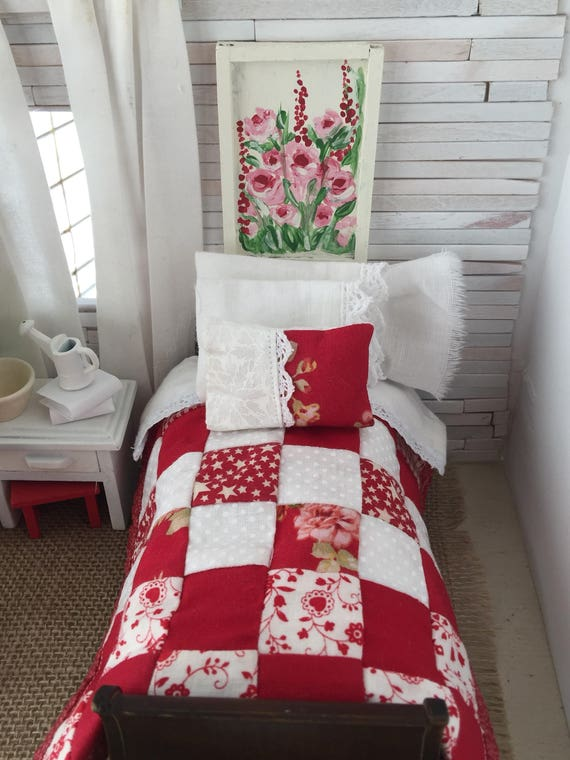 Miniature Dollhouse Red and white Farmhouse Quilt and Bedding only - 1:12 scale