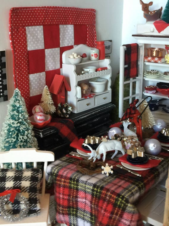 Miniature Woodland Christmas Table, Table Settings and 4 Chairs - Dollhouse Scale 1:12