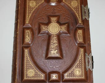 Antique Family Bible, Catholic Canonical, Fleming Surname, Leather Bound, Gilted 1880s Book