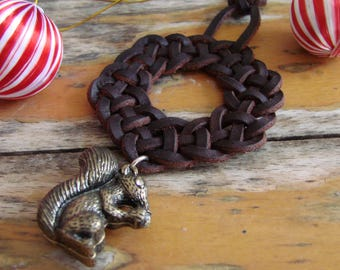 Celtic Wreath Knot Christmas Decoration with 3D Squirrel Pendant -- Tree Ornament, Spanish leather, Festive Home Decor, Seasonal bling, OOAK