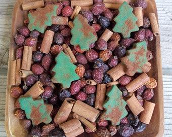 Rustic Country Saltdough Christmas Trees, Cinnamon Spice, Country Primitive, Farmhouse Decor, Christmas Decoration, Potpourri Add-in, Fixins