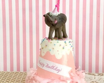 Elephant Birthday Cake Topper/Elephant Centerpiece/Decoration/1st Birthday/Zoo Animal