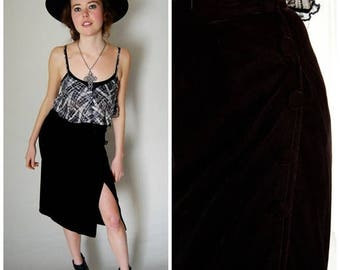 SALE 25% off sundays Velvet Wrap Skirt Vintage 60s Black Velvet High Waist Wrap Boho Skirt (xs)